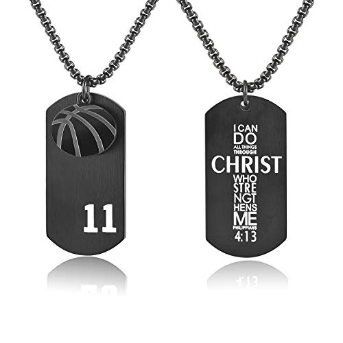 - VI.SPORT Basketball Player 11 Dog Tag Pendant,Religious Philippians 4:13 I Can Do All Things Necklace (Black)