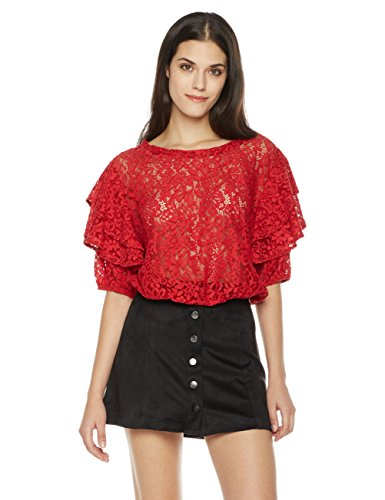 Painted Heart Women's Tiered Half Sleeve Scoop Neck Lace Blouse Small - Lovely Heart