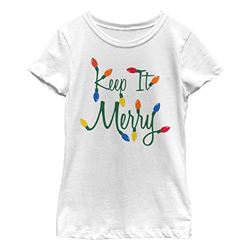 Girls' Keep It Merry Christmas Lights White T-Shirt by Lost Gods