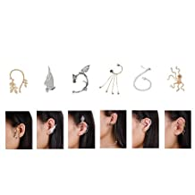 Bundle Monster 6pc Punk Gothic Style Ear Wrap Charm Ear Cuff Earring Stud- Set 2