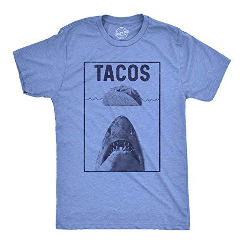 Mens Tacos Shark Tshirt Funny Jaws Cinco De Mayo Tee for Guys (Heather Light Blue) - XL