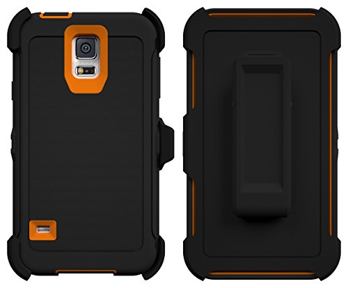 Galaxy S5 Case, ToughBox® [Armor Series] [Shock Proof] [Black | Orange] for Samsung Galaxy S5 Case [Built in Screen Protector] [With Holster & Belt Clip] [Fits OtterBox Defender Series Belt Clip]