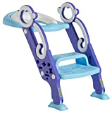 Toddler Toilet Training Seat with Non-Slip Ladder: Foldable Padded Potty Trainer with Step for Girls and Boys (Blue Purple)