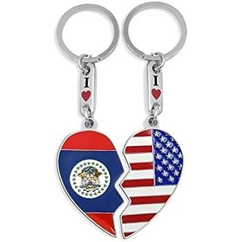 Amazon.com: Llavero EE. UU. & Italia Corazón: Automotive