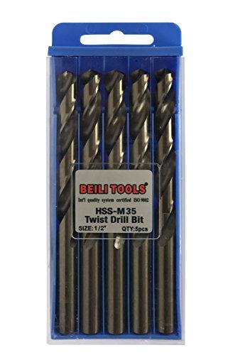 HSS M35 Cobalt Twist Drill Bits, Pack of 5 (12.7mm, - 0.5 Bit Cobalt