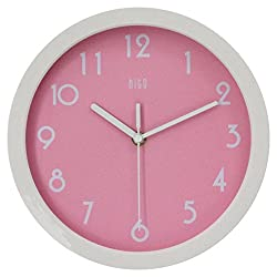 HITO Modern Colorful Silent Non-ticking Wall Clock- 10 Inches, Pink