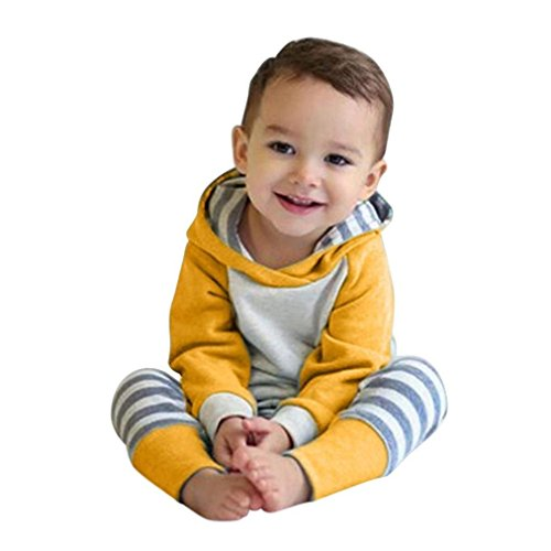 - Happy Town Baby Boys Girls Clothes Long Sleeve Hoodie Tops Sweatsuit Long Pants Outfit Set (Yellow, 3-6 Months)