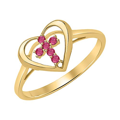 tusakha X'Mas Special 14K Yellow Gold Round Cut Created Ruby Engagement Cross in Heart Ring .925 Sterling Silver for - Cross Ruby Heart