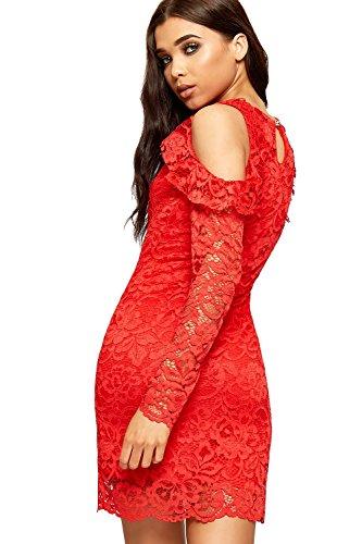Wearall Femmes Découpées En Dentelle Florale Robe Épaule Froid Jabot Manches Longues Doublée Rouge