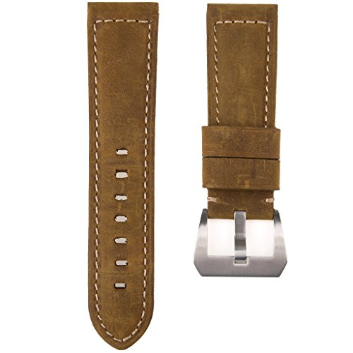 Adebena 24mm Watch Bands Replacement Calf Leather Padded Watch Strap with Brushed Tang Buckle