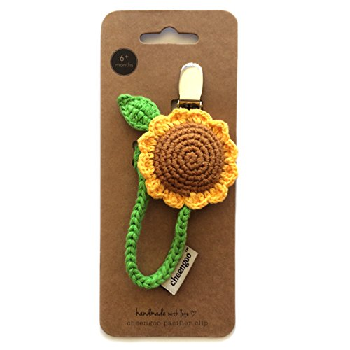 Cheengoo Organic Hand Crocheted Pacifier Clip - Sunflower