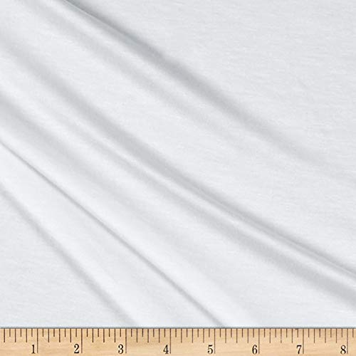 Lavitex Heavy Rayon Jersey Knit Solid Fabric, White, Fabric By The Yard