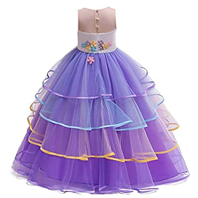 HIHCBF Girls Unicorn Costume Pageant Princess Party Dress Wedding Birthday Halloween Carnival Long Maxi Gown w/Headband: Clothing