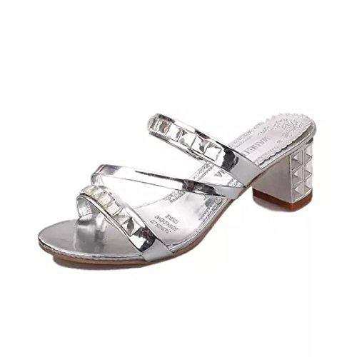 GSHGA Summer Ladies Sandalias De Tacón Medio Beach Slippers Fashion Silver
