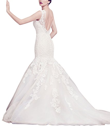 BRIDE Reizvolle Meerjungfrau GEORGE Schlepp Brautkleid applique Elfenbein Spitze duenne d577x