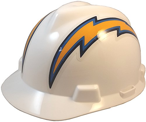 (MSA NFL Team Safety Helmets with One-Touch Adjustable Suspension and Hard Hat Tote - Los Angeles Chargers)