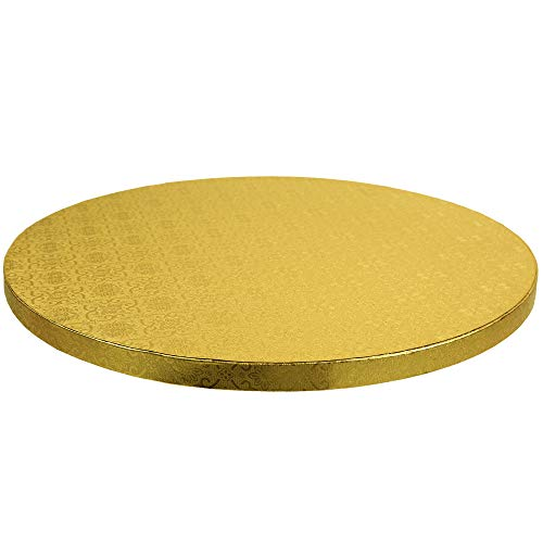 O'Creme Cake Board, Gold Foil Round Cake Circles with Gorgeous Design, Sturdy & Durable 1/2