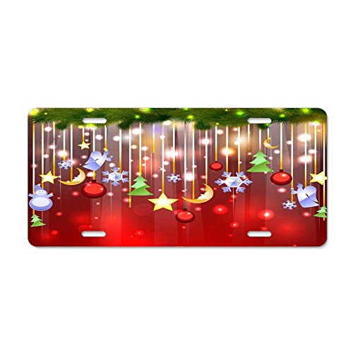 (Kingsinoutdoor Merry Christmas Ornaments Customizable Auto Truck Car Front Tag Aluminum Metal License Plate Frame Cover 12 x 6 Inch)