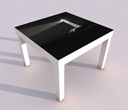 Diseño - Mesa con UV Impresión 55x55cm Negro Blanco Faro Noche ...
