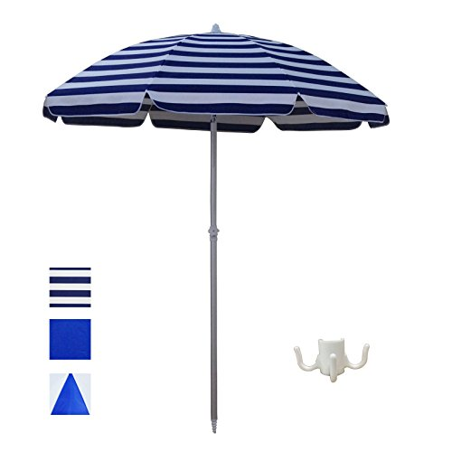 ShadeRest Aluminum Beach Umbrella, 6.5' with Sand Anchor and Air Vent—Blue - Boxing Sales Australia Day