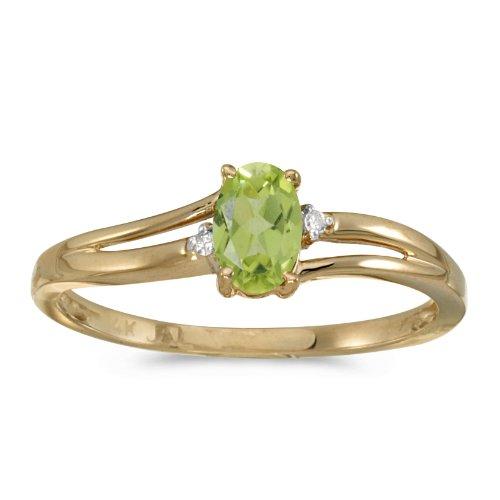 - 0.41 Carat ctw 14k Gold Oval Green Peridot & Diamond Accent Swirl Bypass Split Shank Promise Fashion Ring - Yellow-gold, Size 5.5