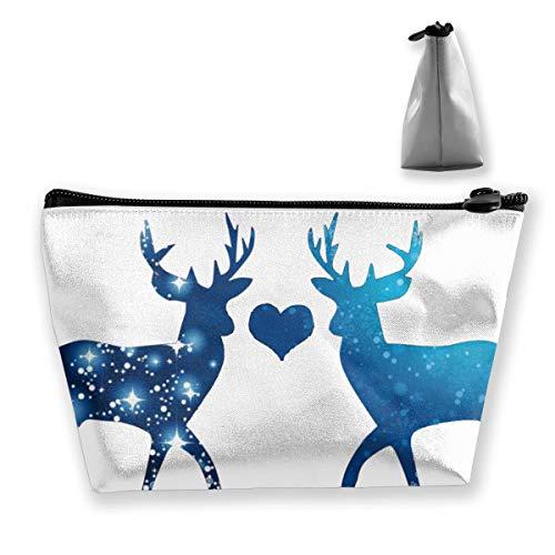 Reindeer Elk Moose Tixing Travel Portable Cosmetic Bag Wristlet Pouch MultiFunction Make-up Bags