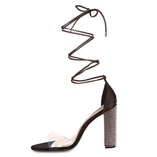 Satin Sandales laçage La en Noir Modeuse Femme pour à 414gfnU
