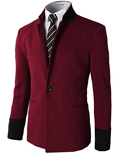 Red Wool Blazer Jacket (H2H Men's 1 Button Center Vent Wool Blend Blazer Jacket WINE US L/Asia XL (CMOBL014))