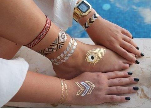 Gold Flash Tattoo Set G4 - Tatuaje Metálico Temporal en dorado y ...