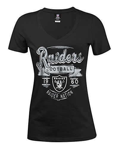 NFL Oakland Raiders Women's Baby Jersey Short Sleeve V-Neck Tee, Large, Black