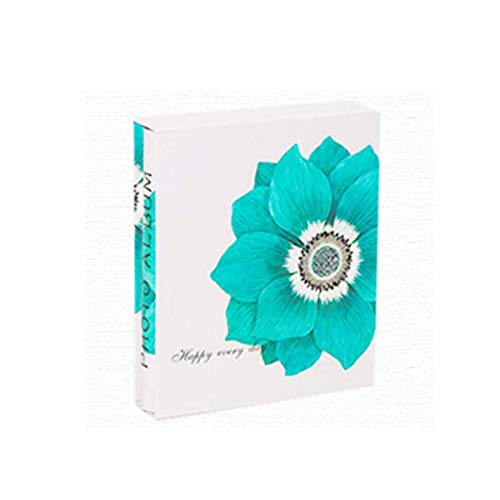 Jinnuotong Album, Youth Fashion Creative Traditional Photo Album, Boxed Insert Baby Growth Couple Romantic Gift, Blue Flower Elegante (Color : White)