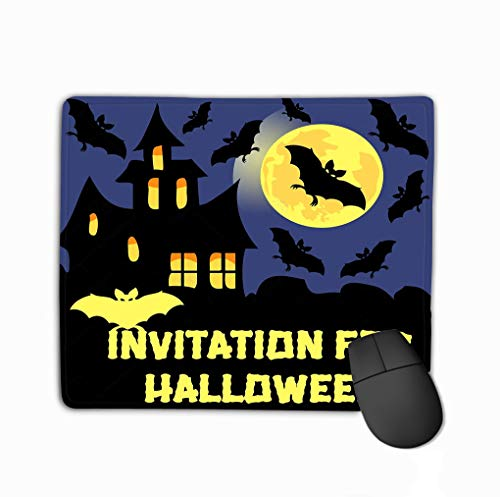 Mouse Pad Invitation Halloween Party Card Mix Bats Castle Moon Dark Background Dreamy Rectangle Rubber Mousepad 11.81 X 9.84 Inch -
