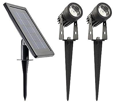 WARM WHITE - ALUMINUM Lamp - Robust Spotlights (Set of 2)//HUGE 3W Solar Panel//2500mAh Li Battery//2X16 Ft Cable//POWER ADJUSTABLE (Each 150~50 Lumen)//DUSK to DAWN even in Winter @ L Mode