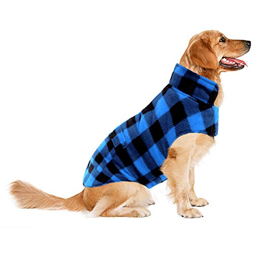 ASENKU Dog Winter Coat, Dog Fleece Jacket Plaid Reversible Dog Vest Waterproof Windproof Cold Weather Dog Clothes Pet Apparel for Small Medium Large Dogs (S, Blue) (Best Dog Breeds For Cold Weather)