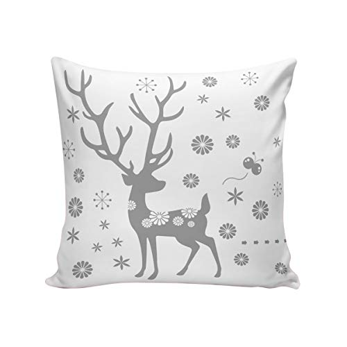 Rocking Giraffe White Gray Floral Deer Throw Pillow Case Decorative Square Cushion Cover Supersoft Satin Fabric Pillowcase Home Couch Sofa Bed 20 x 20 Inch 50 x 50 cm ()