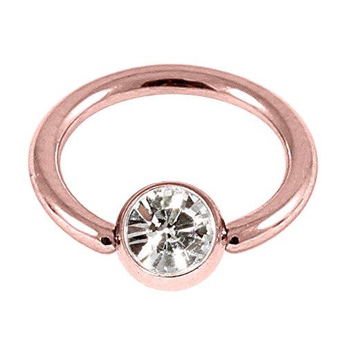 Piercing BCR en acier de couleur or rose avec cristal transparent calibre Gem. 1,2mm, diamètre interne 8mm. Anneau boule. Bonne pour le nez, tragus, Pinna, oreille, sourcils.