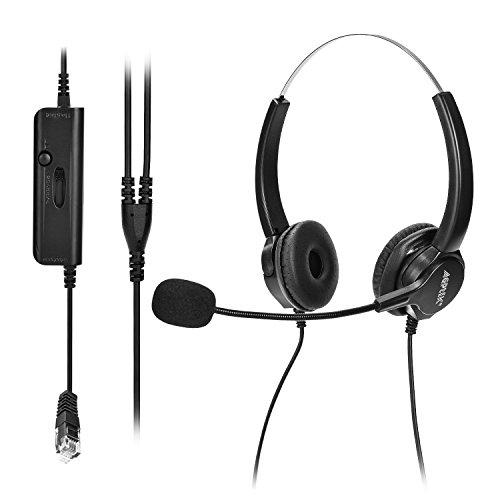 AGPtEK Call Center Binaural Corded Headset for Dial Pad Telephones