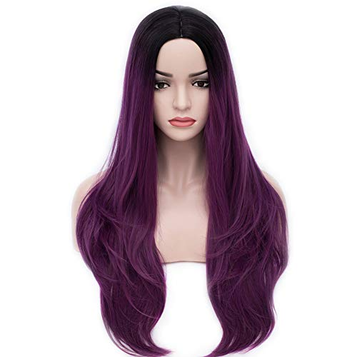 "BERON 27"" Women's Long Wavy Wig Dark Root Ombre Parted Synthetic Wig Daily Use Halloween Cosplay Costume Party Wig (Black to Taro -"