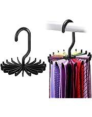 "IPOW 2 Pack 360 Degree Rotating Twirl Tie Rack Adjustable Tie Belt Hanger Holder Hook Ties for Closet Organizer Storage (4.4""black)"