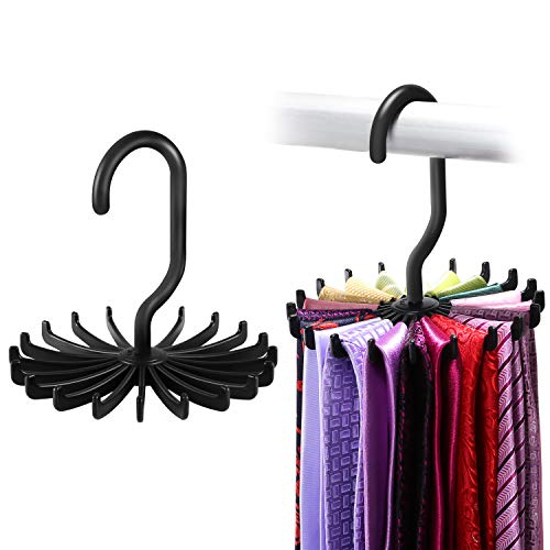 IPOW 2 Pack Updated Twirl Tie Rack Belt Hanger Holder Hook for Closet Organizer Storage ()