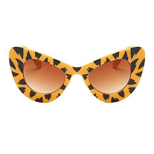 Brown for Gradient Cat Goggles Eye Sunglasses Narrow Tiger Resin Frame Women Vintage Retro Clout Frame SqxwT6BgwX
