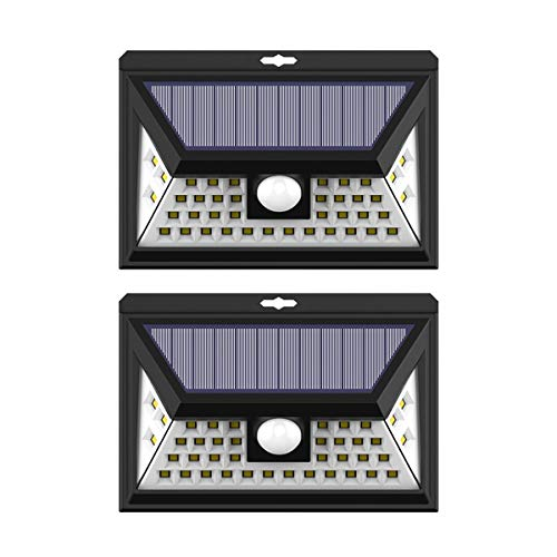 Exulight Solar Power Deck Lights Outdoor, 40 LED Motion Sensor Wall Lamp, Wireless Waterproof Security Night Light for Front Door, Porch, Yard, Fence, Garage, Garden, Driveway, Walkway, Steps (2 Pack) For Sale