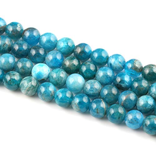 - Natural Stone Beads Blue Apatite Round Loose Beads for Bracelet Necklace Jewelry Making 1 Strand 15