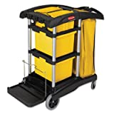 HYGEN M-fiber Healthcare Cleaning Cart, 22w x 48-1/4d x 44h, Black/Yellow/Silver, Sold as 1 Each