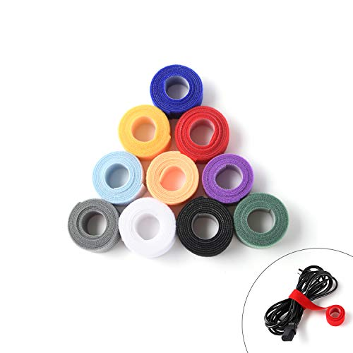 Patu Reusable Multi-Purpose Fastening Tape Cable Ties - 10 Yards (10 Rolls 1 Yard) 1 Inch Width Hook and Loop Cord Management Wire Organizer Straps, Assorted Colors