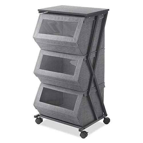 Metal Frame Storage Drawer with See-Thru Windows- 3 Drawer Storage Chest with 4 Castered Wheels - Gray