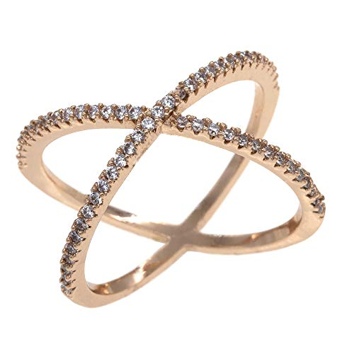 - Lavencious Single X Cross Rings Trendy Fashion Statement Clear CZ Cocktails Jewelry Size 5-10 for Women (Gold, 10)