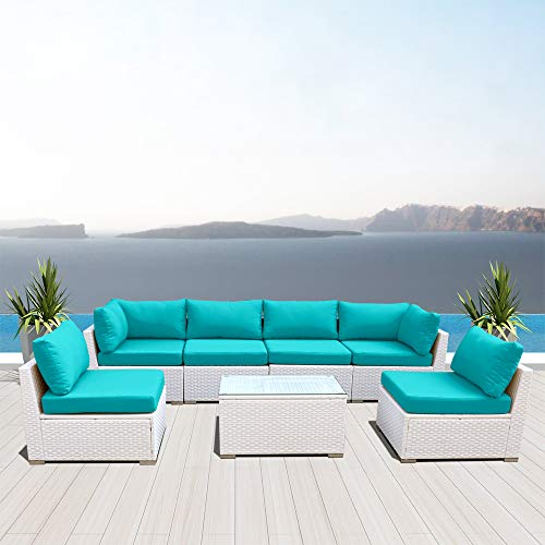 Dineli Outdoor Sectional Sofa Patio Furniture White Wicker Conversation Rattan Sofa Set G7 (Turquoise) -