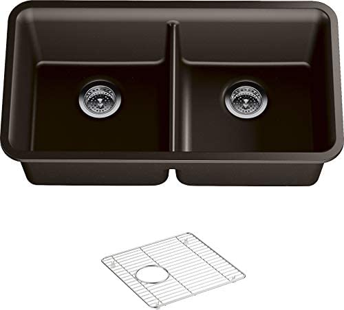 KOHLER K-8199-CM2 Cairn Under-Mount Double-Equal Kitchen Sink with Basin Rack, 33-1 2 x 18-5 16 x 9-1 2 , Matte Brown