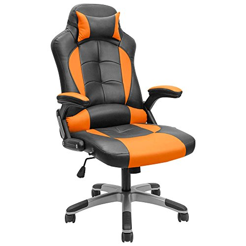 Furmax Gaming Chair Executive Racing Style Bucket Seat PU Leather Office Chair Computer Swivel Lumbar Support Chair (Orange)